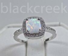 925 Sterling Silver ~1.50tcw White Fire Opal/  C.Z. ~ Micro Pave Ring Size 11