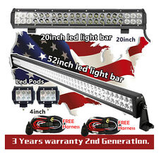 "52 inch LED Light Bar + 20inch led light bar + 2x 4"" CREE Led Pods ATV Truck 50"