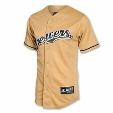New W/TAGS 2014 Milwaukee Brewers Official Gold Jersey -MAJESTIC - Men's Medium