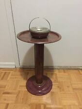 Vintage Metal Standup Ashtray And Drink Stand Art Deco Decorative