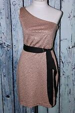 Max And Cleo By BCBG Sequin Claudia One Shoulder Gold Taupe Party Dress XS 2