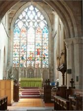 """*Postcard-""""Religious Stained Glass Window Behind Altar in Church"""" (B-306)"""