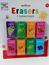 8 Fruit Scented Erasers Rubbers School Party Gift Bag Filler Toy Kids Children g
