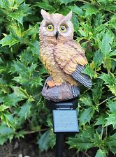 Tawny Owl Garden Solar Powered Light Ornament Decorative Bird Light up