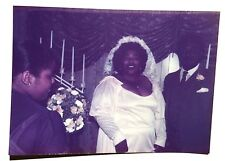 FOUND COLOR PHOTO BLACK AFRICAN WEDDING PARTY GAP TEETH BRIDE WOMAN BIG CHEST
