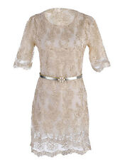 UK S/M Fit Gold Lace Overlay with Silver Pearl Flower Skinny Belt Dress