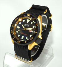 SEIKO GOLD BLACK DIAL AUTOMATIC 7s26 SKX007 SCUBA DIVERS WATCH CERAKOTE