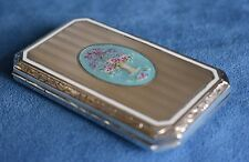 Antique American Sterling Silver Guilloche Enamel Flower Cigarette Case Box