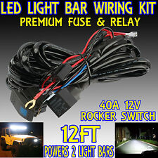 40A 12V Wiring Harness Kit With Laser Switch+Relay LED Light Bar Off Road Truck