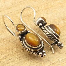 """925 Silver Overlay Cab Brown TIGER'S EYE 2 Gemstone Earrings 1 1/8 """" ONLINE BUY"""