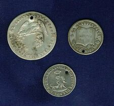 BOLIVIA 19TH CENTURY MEDALLIC SILVER COINS/TOKENS, ALL PIERCED, LOT OF (3)
