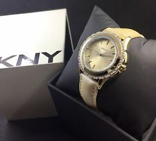 DKNY Champagne Leather Gold & Glitz Watch NY8702 NEW! $135 Sale