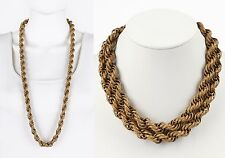 """VTG 1950s MIRIAM HASKELL GOLD GILT CHUNKY CARVED ROPE CHAIN NECKLACE 36"""" LONG"""