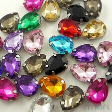 10pcs Mixed Drops Plated Cup Loose Rhinestone Beads Sewing Craft Embellishment