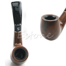 Traditional Style Nature Ebony Wood Handmade Tobacco Smoking Pipe Bent Round