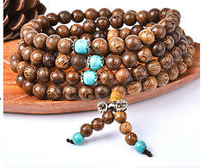6mm Sandalwood Buddhist Buddha Meditation 108 Prayer Bead Mala Necklace Bracelet