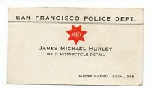 1950s San Francisco Police Motorcycle Officer Business Card