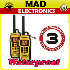TWIN UNIDEN MHS050 HANDHELD BOAT MARINE VHF RADIOS WATERPROOF FLOAT WATER 2 PACK