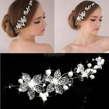 Rhinestone Crystals Wedding Bridal Flower Hair Piece Faux Pearl Tiara Bride 35DI