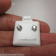 Valentine Gifts Round Brilliant cut Mens or Ladies Stud Earrings Sterling Silver