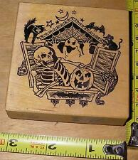 RARE PSX G-1173 ~ Halloween Scary Spooky Scene ~ Mounted Rubber Stamp