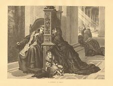 Catholic, Priest, A Confession by R. Lehmann, Vintage 1876 Antique Art Print,
