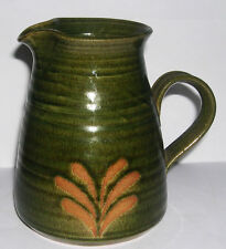 Buxton Mill Studio Pottery Glazed Stoneware Green Jug - Impressed Mark on Base.