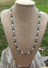 Teal, Lavender, White Handmade Glass Beaded Necklace w/ Silver Czech Seed Beads