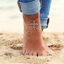 Woman Silver Plated Tassel Pendant Chain Link Anklets Bracelet Foot Jewelries