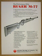 1972 Ruger M-77 M77 Bolt-action Rifle vintage print Ad