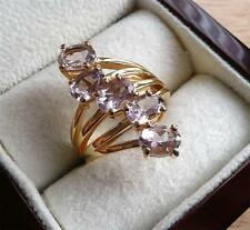 ROSE DE FRANCE PALE AMETHYST 925 STERLING SILVER GOLD CROSSOVER RING SZ Q 8.5