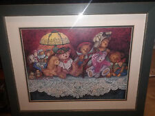 WONDERFUL VINTAGE FRAMED PRINT OF A TEDDY BEAR GATHERING  ADORABLE PICTURE