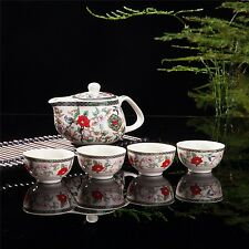 Exquisite 5 PCS Flower & Birds Design Ceramic Tea Pot Tea Cups Set In Beautif...