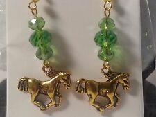 Handmade Gold Tone &Green Glass Bead Running Horse Pony Earrings-Fashion Jewelry