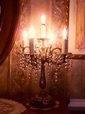 RARE VINTAGE HOLLYWOOD REGENCY BRASS PRISM 5-LIGHT CANDELABRA LAMP