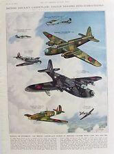 Ancienne impression vintage avions britannique camouflage c1941 ouragan wellington guerre