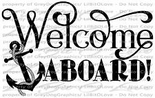 Welcome Aboard with Anchor Vinyl Decal Boat Wall Sticker Decor Script