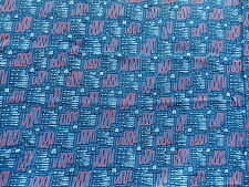 Vintage 1940's Cotton Dress Making Fabric Retro Geometric Design on Blue