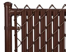 Chain Link Brown Single Wall Ridged Privacy Slat For 6ft High Fence Bottom Lock