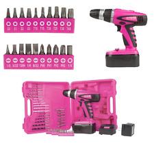 "The Original Pink Box PB18VNIC 18V NiCd 3/8"" Cordless Drill Kit Tool Set Bits"