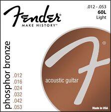 Fender Phosphor Bronze Acoustic Guitar Strings 12-53 light gauge 60L
