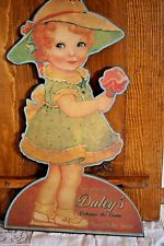 Vintage Ice Cream Girl Sign Die Cut Wood Advertisement Daley's Flavor Of The Day
