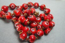 VINTAGE ITALIAN VENETIAN MURANO MILLEFIORI RED GLASS BEAD  KNOTTED NECKLACE