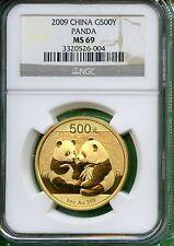 CHINA 2009 PANDA GOLD  ONE OZ  NGC MS 69   500 YUAN   .999 AU