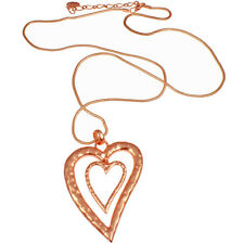Lagenlook large red rose gold plated double heart design pendant long necklace