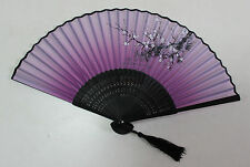 Chinese Ladies Silk & Bamboo Folding Fan Hand Fan Plum Flower Painting - Purple
