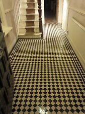 VICTORIAN OLD ENGLISH ORIGINAL STYLE FLOOR TILES  BLACK AND WHITE 50mm
