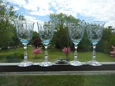 """Fostoria Navarre Claret 7.5"""" Azure Light Blue Etched Glasses Set of 4"""