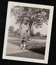 Antique Vintage Photograph Cute Little Boy in Overall Shorts Standing in Yard