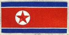 NORTH KOREA FLAG Iron-on PATCH KOREAN DPRK KING JONG UN RARE WHITE Border #02